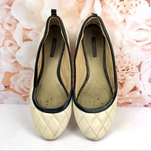 Forever 21 quilted flats beige white classy